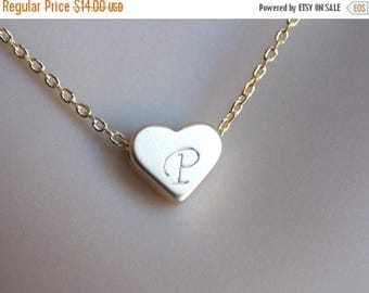 SALE Heart Personalized Necklace, Gold Heart Necklace, Baby Shower, Gold Heart Pendant, Heart Initial Necklace, Hand Stamped, Valentines Gif