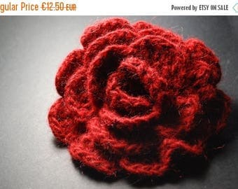 Christmas in July Sale Valentines Gift Idea, Fabric Brooch, Red Rose, Flower Brooch, Crochet Brooch, Red Brooch, Red Flower Brooch, Red Croc