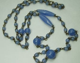 1920s Czech Flapper Necklace Wired Blue Glass Beads Silvertone Metal 36.5 Inches Art Deco Necklace