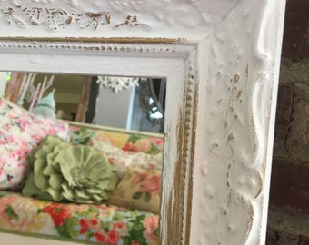 Vintage mirror Ornate vintage shabby chic, chalk paint pale pink and gold highlights