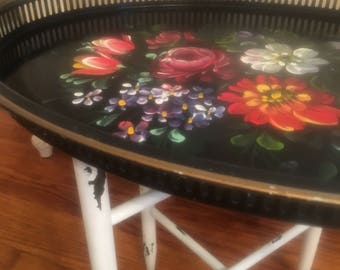 Oval tray and stand, floral tray, shabby table