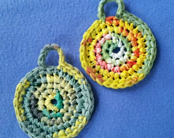 Two Plarn Dish Scrubbies, green yellow and orange, recycled plastic bags, eco-friendly dish scrubby pot scrubber