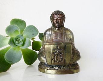 Vintage Buddha Incense Holder - Small Metal Buddha