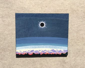 Eclipse, 16x20 inches, original sewn fabric artwork, handmade, freehand appliqué, ready to hang canvas
