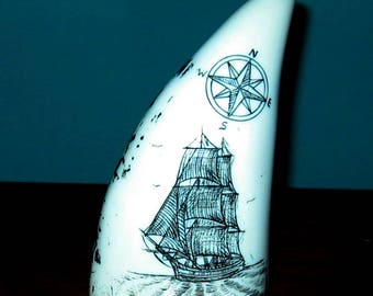 SPERM WHALE Tooth Faux (resin) Scrimshaw of Tall Ship with Compass Rose