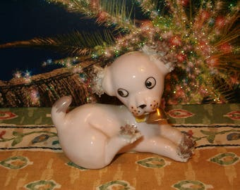 """Old World Figurine, Dog, Pale Pink, Bisque, Screen Touch, Freckles, As is, Big Eyes, No Maker Marks, Shiny Bone China Look Finish, 3""""L"""
