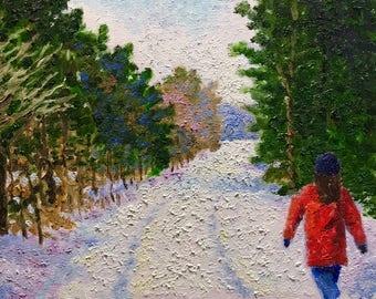 "Original Impressionist landscape oil painting 8x10 ""The Red Coat"""