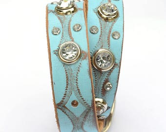 "Turquoise Leather Dog Collar,  Leather Dog Collar, Western Leather dog collar, Tooled Leather Dog Collar, Made in USA, Sizes 16"" - 20"""