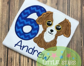 Beanie Boo Dog Birthday Shirt- Embroidered and Personalized Shirt - You choose Number for Shirt