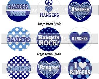 INSTANT DOWNLOAD Rangers Navy Blue & Carolina  Blue School Mascot 1 inch circle bottle cap Images