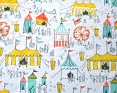 MINKY, Michael Miller Carnival Fun on Minky, Yardage, Minky Fabric by the yard, Circus Tent, Yellow, Orange Teal and Gray, Carnival Minky