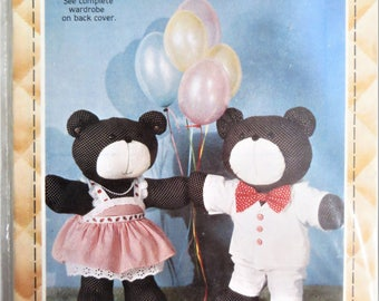 Calico Teddy Bear and Wardrobe Pattern, Patch Press 359D, 19 inch Bear and 6 Outfits, Vintage 80s Bear and Clothes Pattern