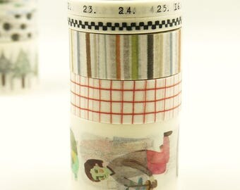 Coral - Japanese Washi Masking Tape Box Set - 5 rolls - 3.3 Yard (each roll)