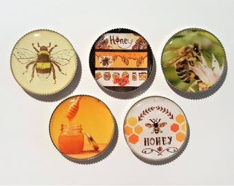 Bee Magnets | Honey Bee Decor | Beehive | Bee Farmer | Bottle Cap Magnet | Honey | Yellow Bee | Kitchen Decor