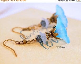 CIJ Blue Flower Lucite Earrings, Blue Victorian Style Earrings, Vintage Style Pierced or Clip-on Earrings. OOAK Handmade Earrings