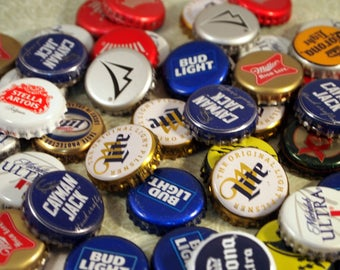 50 Assorted Beer Bottle Caps, DIY Beer Caps,  Recycled Materials, Used Beer Caps, Craft Supplies, Jewelry Supplies, CKDesignsUS