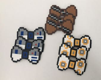 8-bit Star Wars Theme Party Pack Headband, Barrette, Pins Chewbacca, R2D2, BB-8 Character Pixel Art