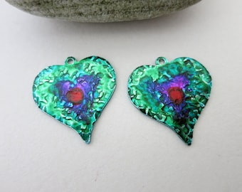 Heart Ink Wash Earring Charms, 22x20mm, Hammered Aluminum, Hand Painted Alchol Ink, One of a Kind, Ready to Ship