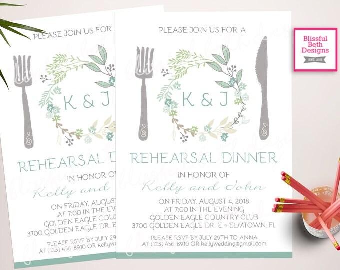 Greenery Wedding Rehearsal Dinner Invitation, Printable Rehearsal Invitation, Rehearsal Invitation, Wedding Rehearsal Dinner Invitation