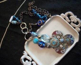 Upcycled Enamel Buckle Necklace-Vintage Blue Enamel Buckle Necklace-Circular Buckle Necklace-Vintage Brass Buckle Necklace-Antique Necklace