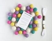 Easter Garland Kit, DIY Spring Garland, Yellow, Pink, White, Blue, Felt Pom Poms, Nursery Decor, Kids Room