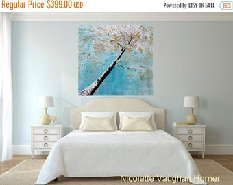 SALE ORIGINAL HUGE Landscape Abstract  Winter Blossom Tree  Oil Painting Impasto Texture Gallery Fine Art -Nicolette Vaughan Horner