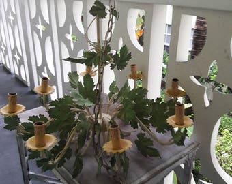 A GRAPE FIND / Gorgeous 8 Arm Grape Leaf Tole Chandelier / Ready To Go Original Finish / Traditional Decor