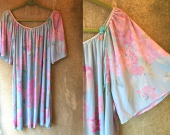 PASTEL Floral See Through Sheer Butterfly Sleeve Loose Oversized Nightgown Dress XL