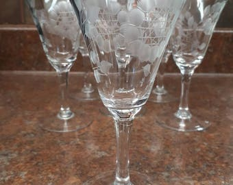Set of 6 Vintage Cornflower Pattern Crsystal Wine Glasses