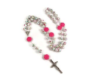 Large Hot Pink Rose Rosary