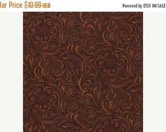 20 % off thru 7/4 TOOLED LEATHER dark BROWN cotton print by the yard Moda 11216 15