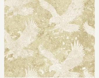 20 % off thru 8/20 cream eagles on tan cotton print by the 1/2 yard Northcott STONEHENGE stars & stripes fabric 39103-30