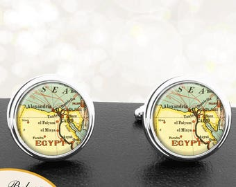 Antique Map Cufflinks Cairo Alexandria Egypt Cuff Links for Groomsmen Groom Fiance Anniversary Wedding Fathers Dads Men