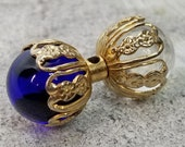 Stunning Vintage Barbell Bead Pendant Toggle Button ~ Heavy Clear Glass Ball Ends in Cobalt Blue and Seeded Transparent ~ 1-5/16 inch 33mm