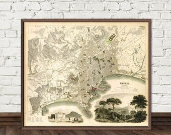 Naples map - Old map of Naples (Italy) - Historic maps prints