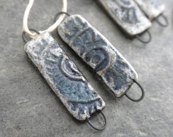 Sun Stix- handmade artisan ceramic earring bead pairs aqua black links