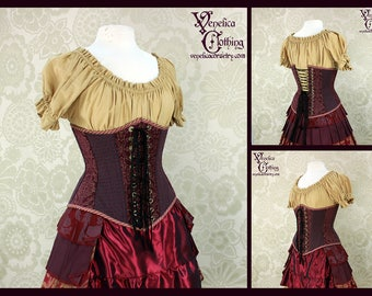 Victorian Steampunk Patchwork Corset - You Choose Your Corset Style - Plum, Teal, & Gold - Custom Sized