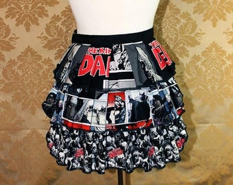 "HALF OFF Ruffle Bustle Overskirt - 3 Layer, Sz. XS - Walking Dead Zombie Theme - Best Fits Up to 34"" Waist or Upper Hip -- Ready to Ship"