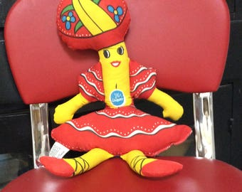 Chiquita Banana cloth doll dated 1975 advertising toy near mint