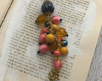 Navy, Coral, Gold Summer Charm Dangle, Planner Keychain, Purse Charm
