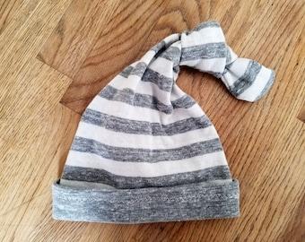 Newborn Baby Knot Hat, Gray Stripe Knot Hat,  Newborn Photo Prop, Newborn Stocking Cap, Cotton Baby Boy Hat