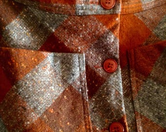 Warm winter , A-line, woollen ,tweed , orange and browns , vintage 1970s handmade skirt