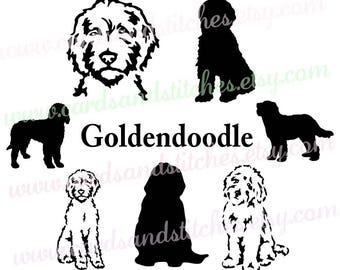 Goldendoodle SVG - Dog Silhouettes - Dogs SVG - Digital Cutting File - Vector Cut - Cricut Cut - Instant Download - Svg, Dxf, Jpg, Eps, Png