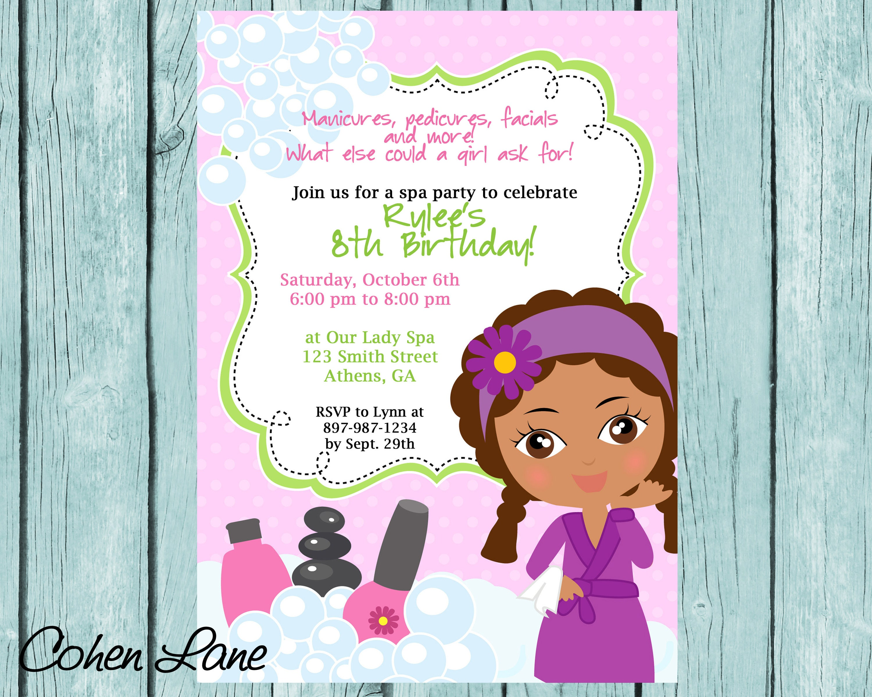 DIY Sassy Spa Party Invitation African American Little Girl - Birthday invitation for little girl