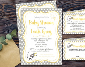 Little Lamb Baby Shower Invitation Package - DIGITAL DOWNLOAD - Diaper Raffle & Book Request - Lamb Stars Grey Yellow White Gender Neutral