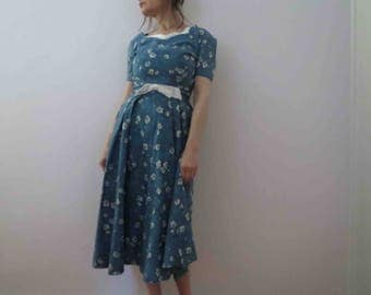 Vintage 50s 60s Duck Egg Blue Day Dress Miss Brooks New York Mad Men Medium