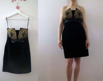 Vintage 80s Black Velvet Gold Lame Deco Bodice Strapless Mini Cocktail Prom Dress Small Medium