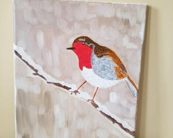Robin on a Winter Branch,  Original Oil  Painting, 9 x 12
