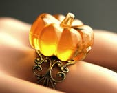 Orange Pumpkin Ring. Halloween Ring. Filigree Ring. Adjustable Ring. Gold Ring, Silver Ring, Bronze Ring, or Copper Ring. Halloween Jewelry.