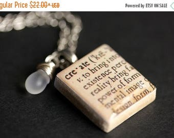 SUMMER SALE Create Necklace Dictionary Quote Necklace. Scrabble Tile Necklace with Glass Teardrop. Scrabble Pendant. Handmade Jewelry Scrabb